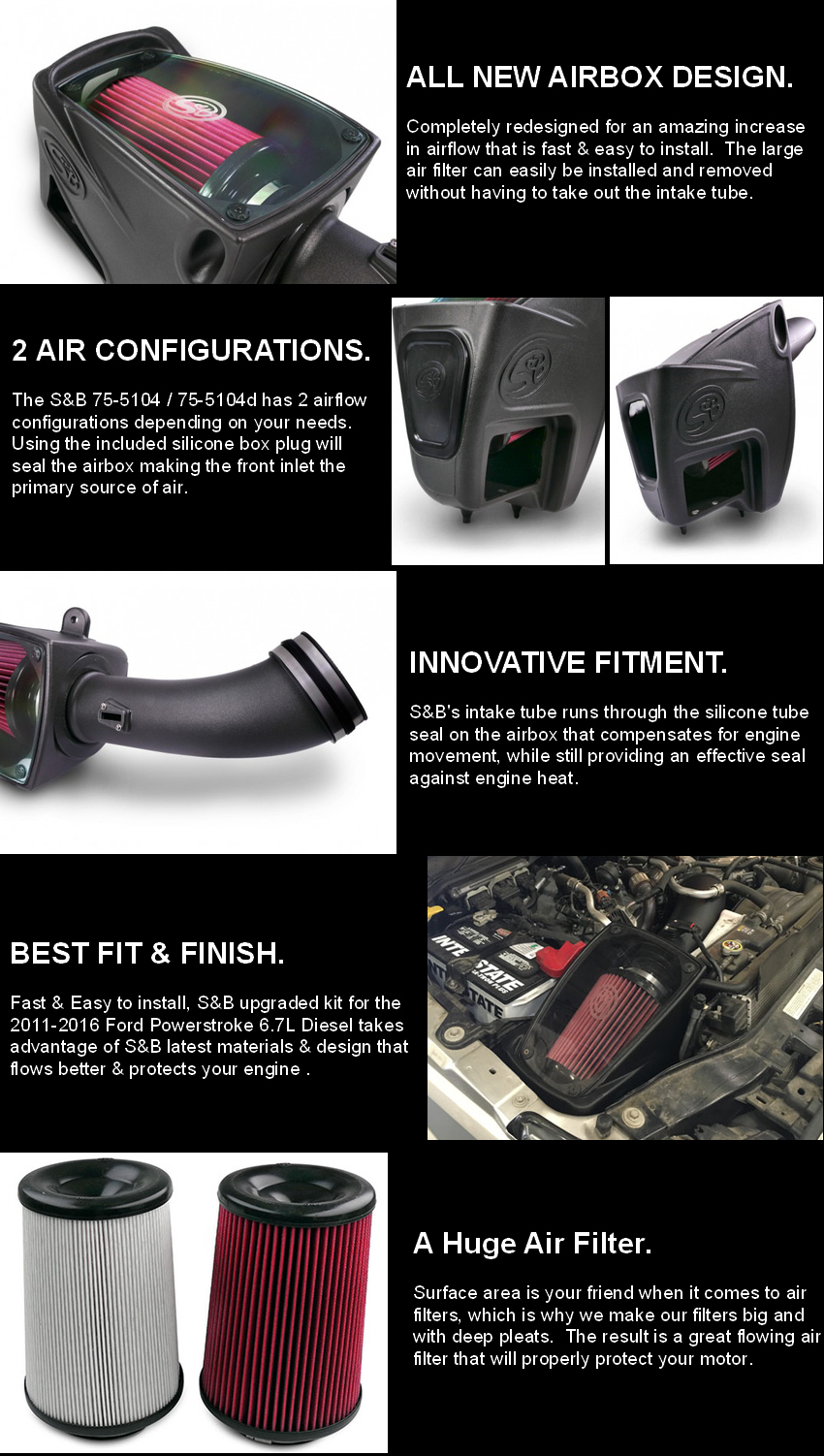 S And B Filters >> S B Filters 75 5104 Cold Air Intake Ford Super Duty