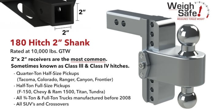 Weigh Safe Hitch for 2.5 inch receivers